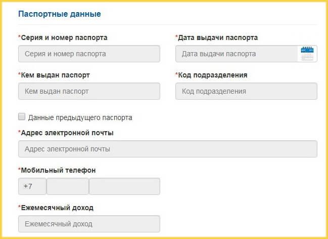 Ввод паспортных данных для кредитки Ситибанка